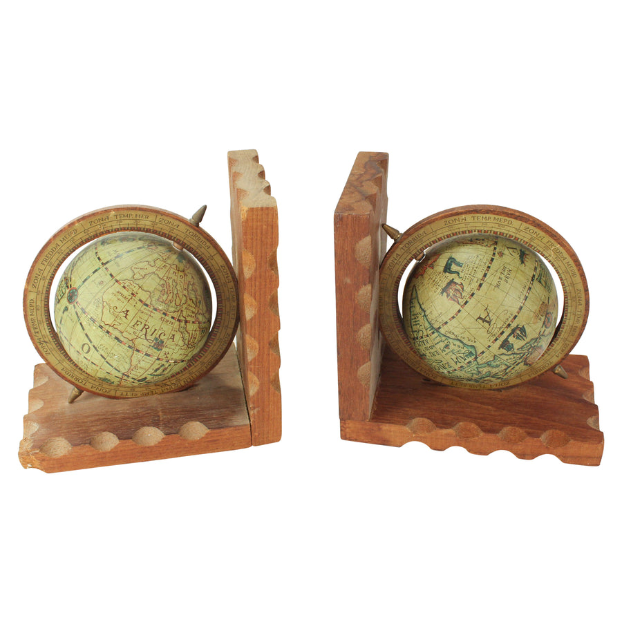 Wooden Globe bookends