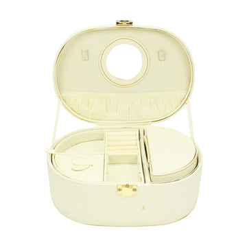 White oval makeup case