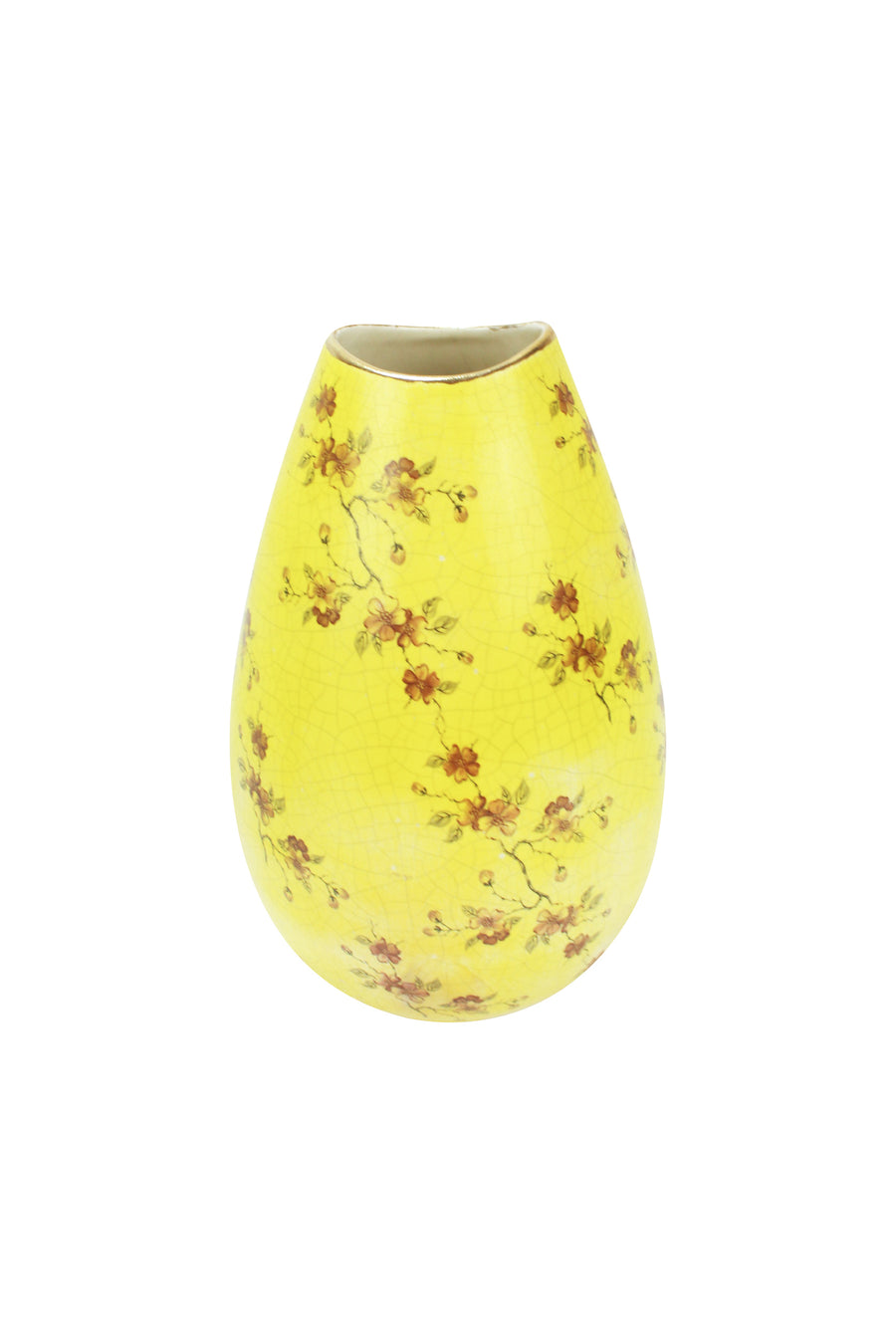 Yellow Crackled Vase