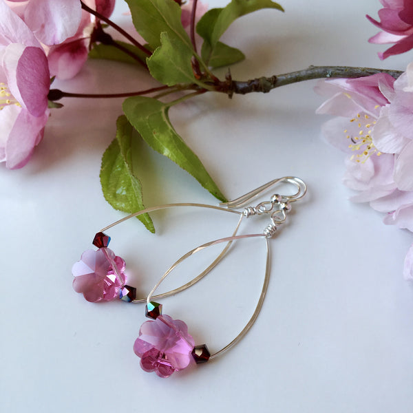 Vintage Swarovski Earrings; Cherry Blossom Crystals & Sterling