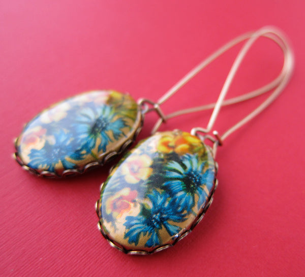 Floral Oval Earrings, Blues and Golds