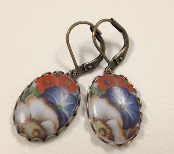 Vintage floral oval earrings - faded blues and reds.
