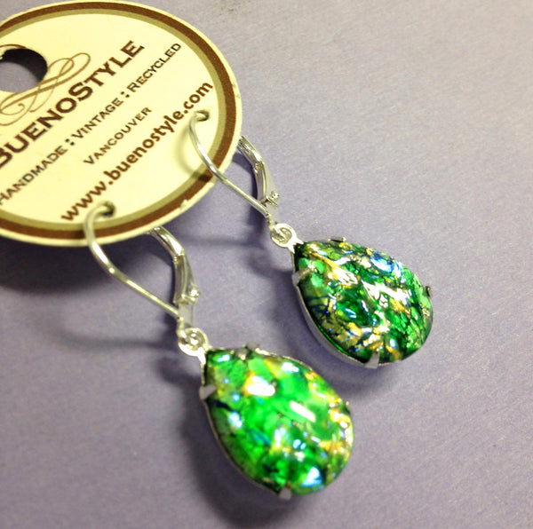 "Juicy Jewel Tone Teardrop Earrings - ""Emerald"""