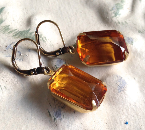 Topaz Cut Glass Rhinestone Earring Drops