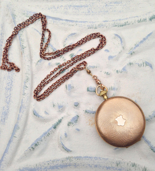 Pocket watch round locket pendant