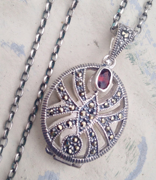 Vintage Sterling Silver Victorian Oval Locket with Marcasite and Garnet