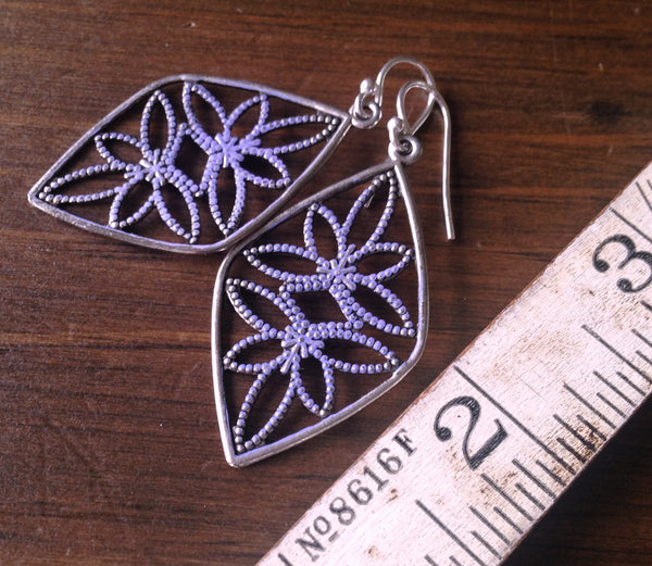 Vintage Silver & Lilac Filigree Diamond Earrings