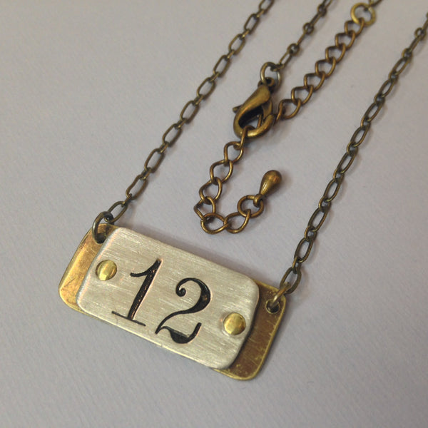 Salvaged Postal Number necklace - horizontal
