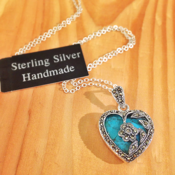 Sterling and genuine Turquoise vintage heart pendant