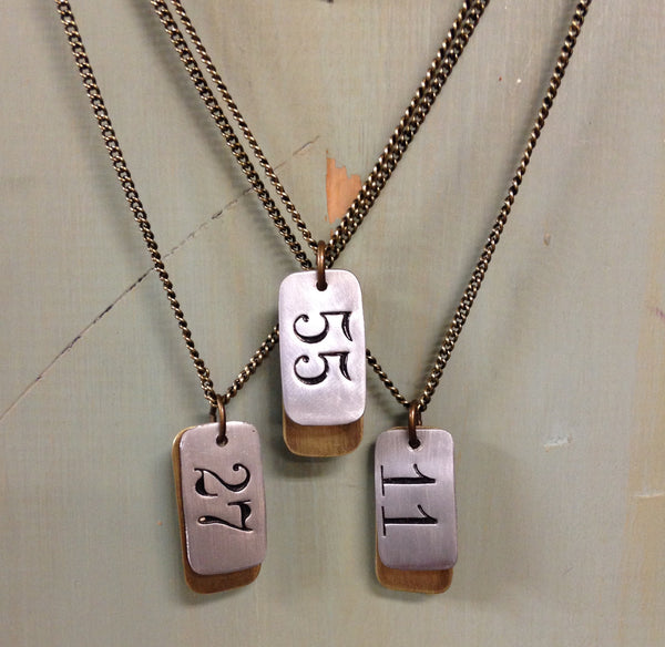 Dog tag salvaged number necklace