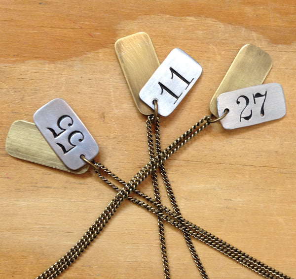 Salvaged Number Necklace - Dog Tag Style