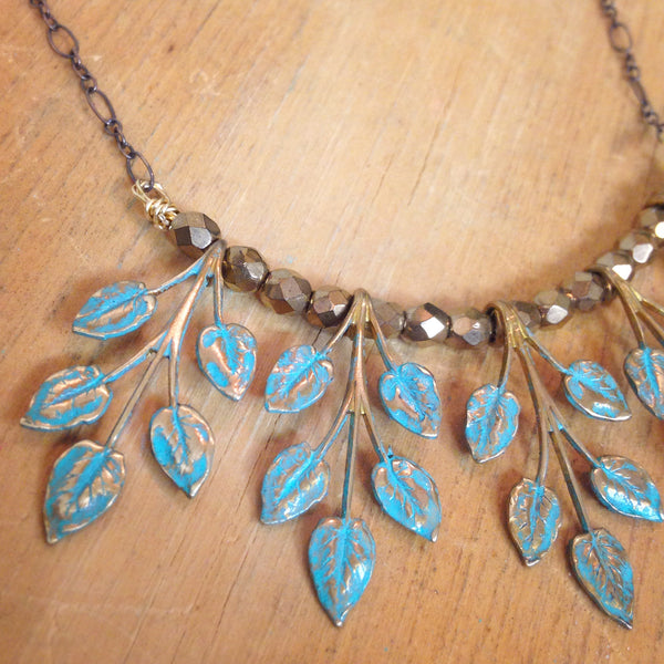 Patina Leaf Charm Curved Necklace