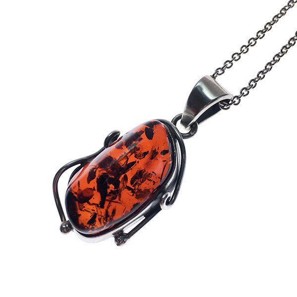 Baltic Amber and Sterling Silver vintage pendant