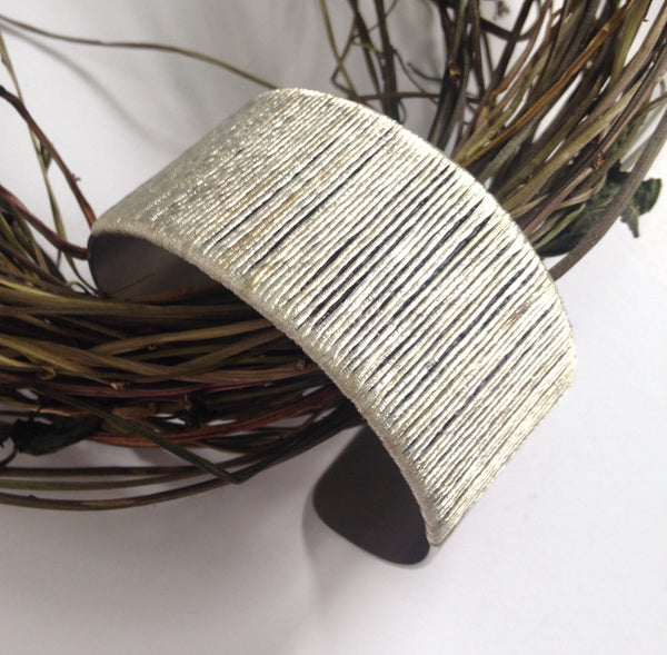 Vintage metallic embroidery thread cuff: Stunning Silver
