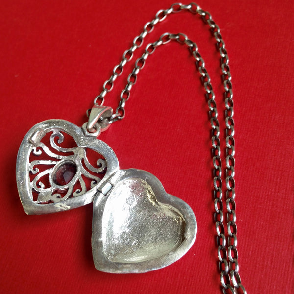 Vintage Sterling Silver Victorian Heart Locket with Marcasite and Garnet