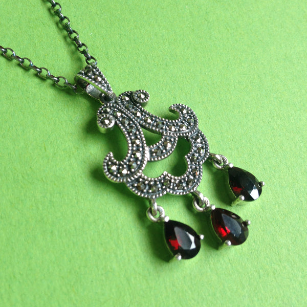 Sterling Silver Victorian Pendant with Marcasite and Garnet Drops