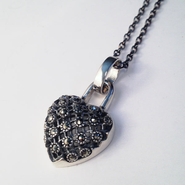 Swiss Marcasite Sterling studded heart Pendant