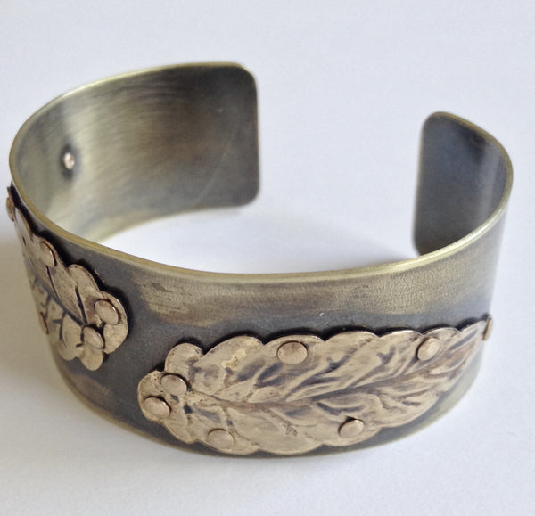 Riveting Leaves vintage brass cuff.
