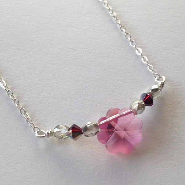 Vintage Swarovski Necklace; Cherry Blossom Floral & Sterling
