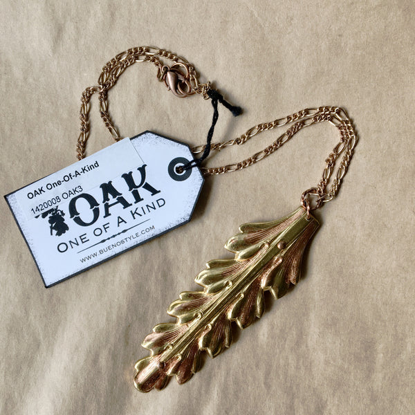Gold Ormolu Leaf Necklace - One of a Kind.