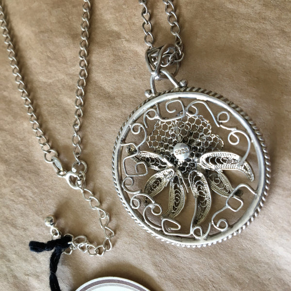 Vintage Sterling Silver Filigree Floral Necklace