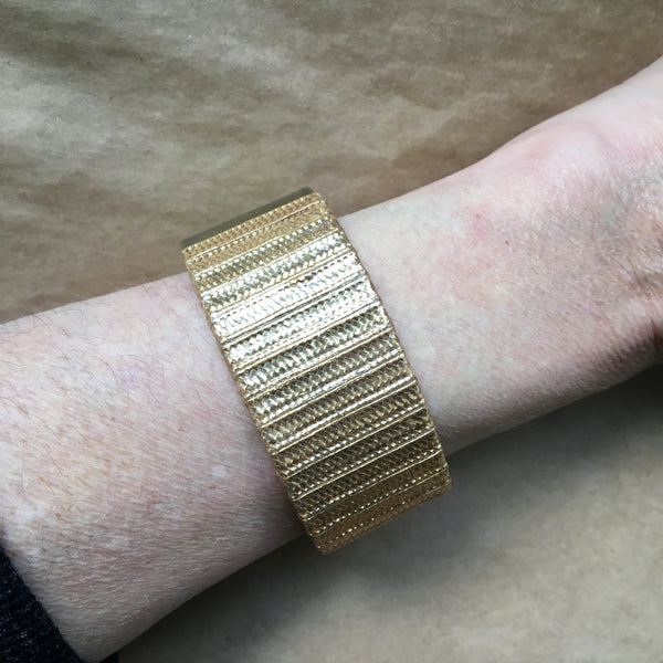 Vintage metallic embroidery thread cuff: Warm Gold