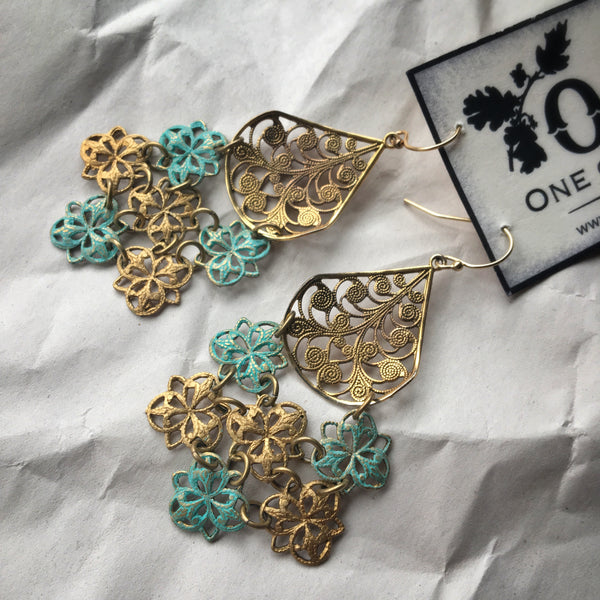 Filigree and Patina Summer Splash Out earrings