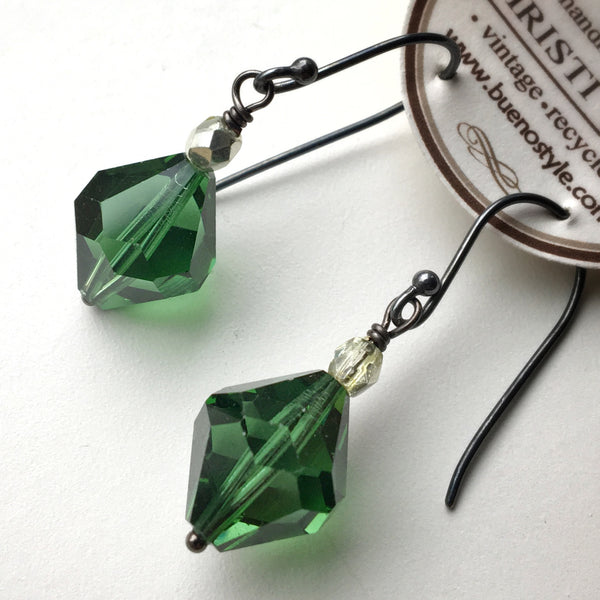 Large Vintage Swarovski Crystal Earrings in Emerald