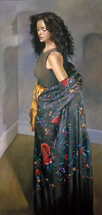 Anna standing in the black shawl. 1996
