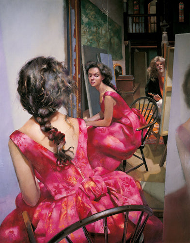 The Painter with Anna (I) - pink dress. 1993
