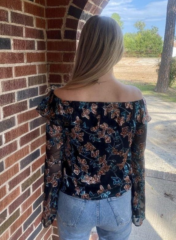 Burnout Velvet Floral Off-Shoulder Top