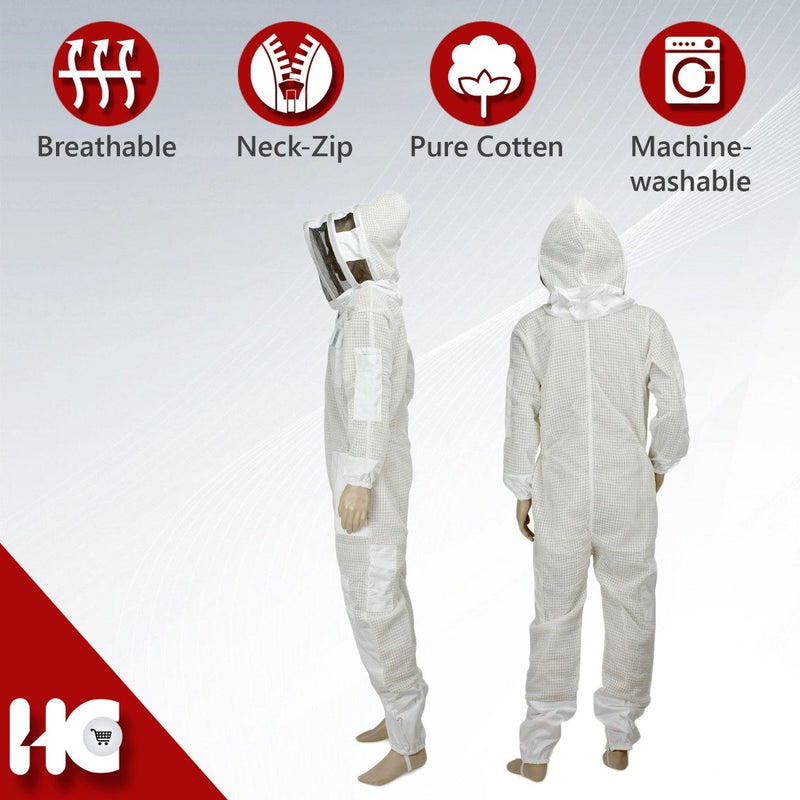 Top-Quality Ventilated Beekeeping Suit with Hooded Front Veil Netting - HugeCARE Srl