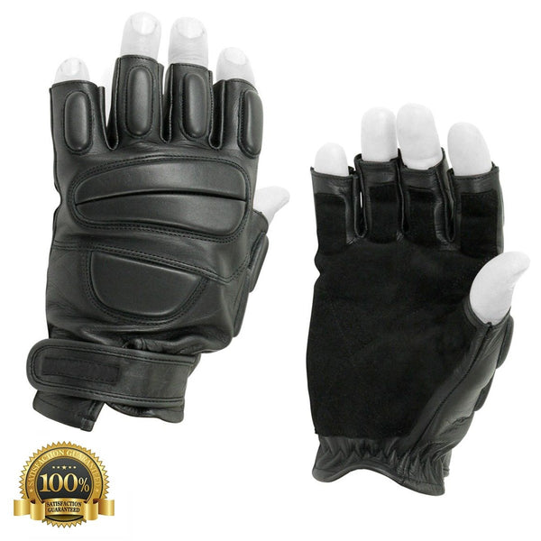High-Quality Genuine Leather Half-finger Gloves - HugeCARE Srl