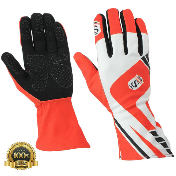 Long Kart Racing Red Gloves Velcro - HugeCARE Srl