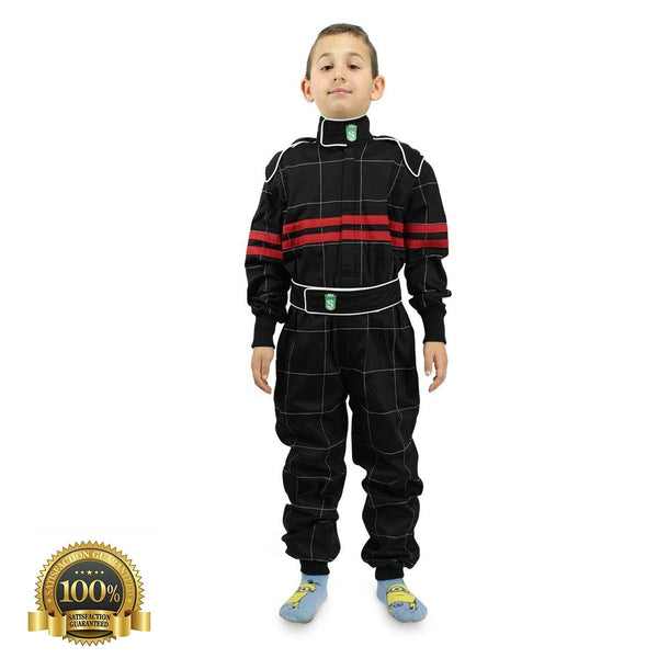 Kids High-Quality Go Karting Suit In Black Color - HugeCARE Srl