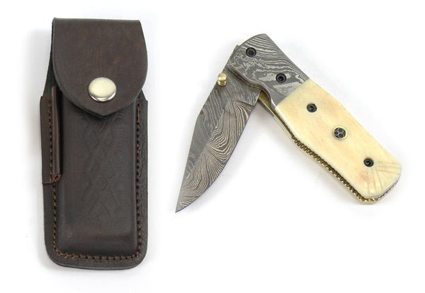 Damascus Folding Knife with damascus steel blade - HugeCARE Srl