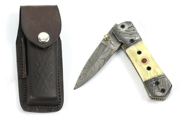 Damascus Folding Knife - HugeCARE Srl