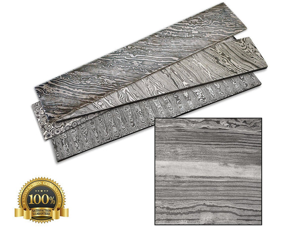 Bar Steel Damascus 380X65X4Mm Random - HugeCARE Srl