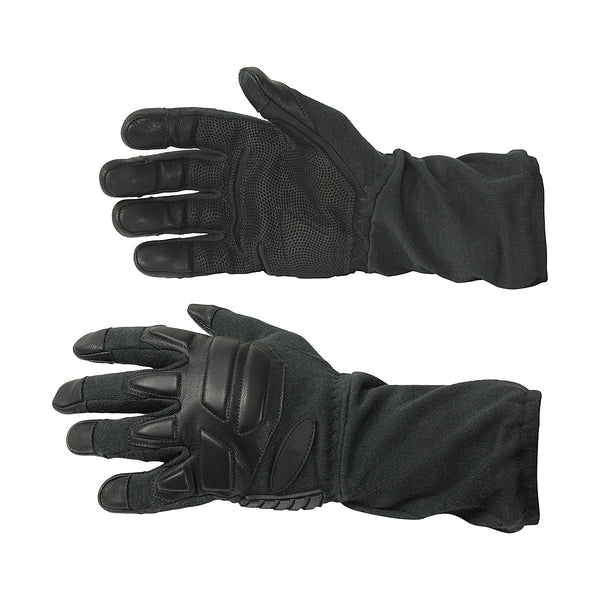 Long Black Tactical Gloves In Genuine Leather And Kevlar Lining - HugeCARE Srl