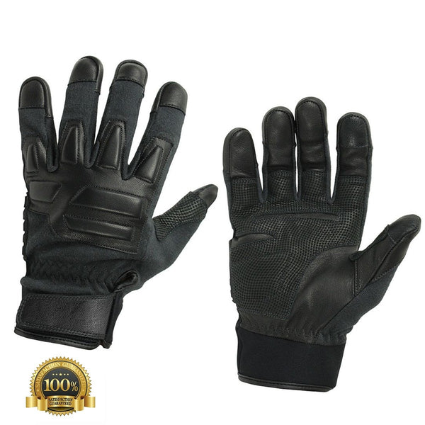 Real Tactical Gloves In Genuine Leather And Kevlar Lining - HugeCARE Srl