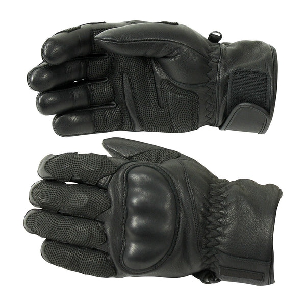 Professional Tactical Black Leather Gloves - HugeCARE Srl
