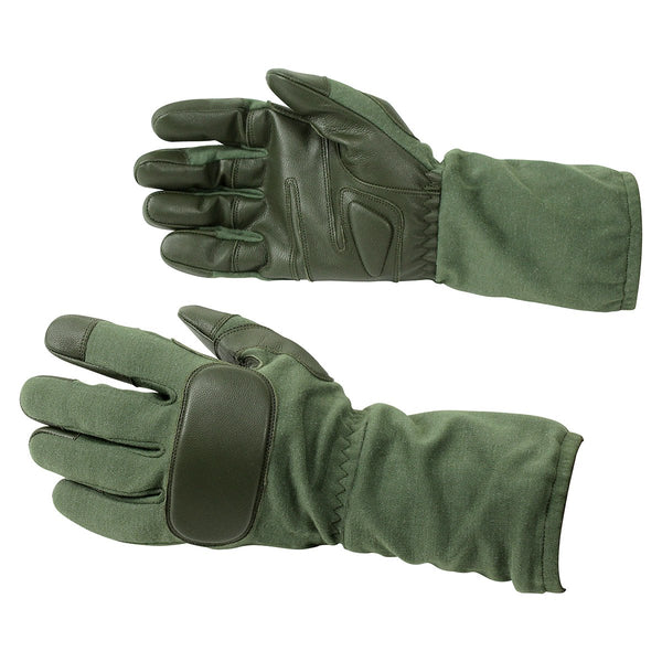 Real Goatskin Leather Long Operational Tactical Green Gloves - HugeCARE Srl