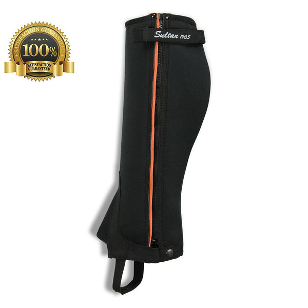 Horse Riding  Half Chaps Made Of Black Neorpene With Orange Amara + V-Line - HugeCARE Srl