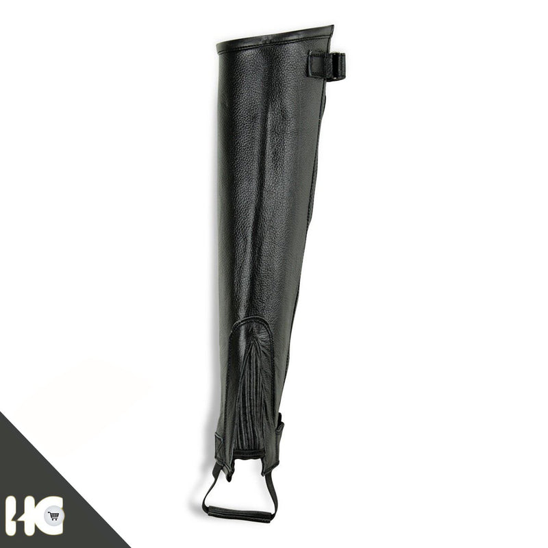 Horse Riding Leather Half Chaps Made of Black Leather - HugeCARE Srl