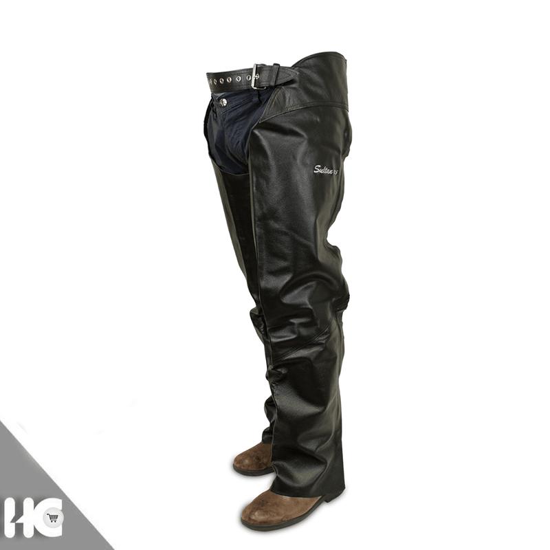 Full Chaps Horse Riding  Leather Made Of Black Leather - HugeCARE Srl