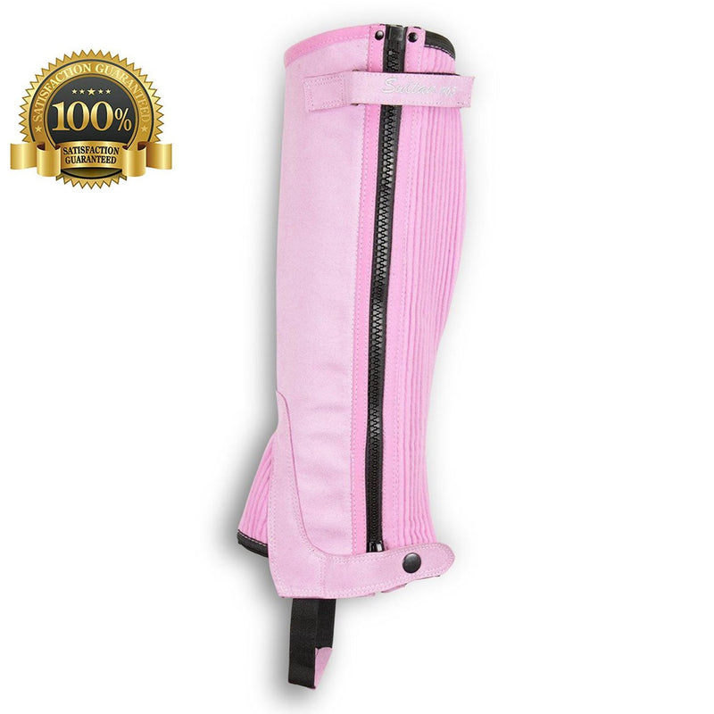Horse Riding Gaiters Leather Half Chaps Made Of Pink Amara - HugeCARE Srl