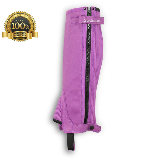 Half Chaps Horse Riding Synthetic Leather Made Of Purple Amara - HugeCARE Srl