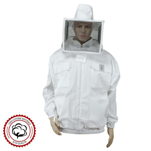 Beekeeping Jacket With Square Veil Mask White