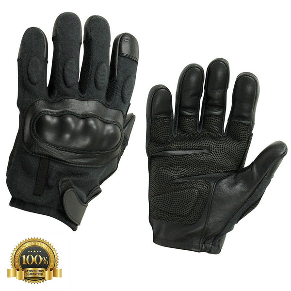 Men's Genuine Leather Black Tactical Gloves Digitally Reinforced - HugeCARE Srl