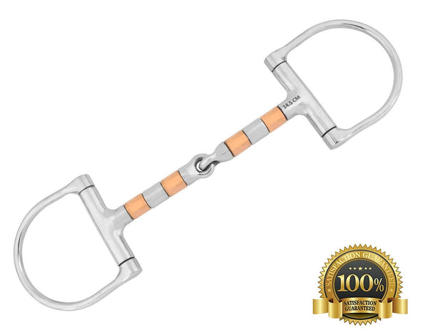 D-Ring Snaffle Horse Bits With Steel and Copper Rollers - HugeCARE Srl